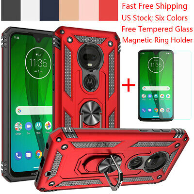 For Motorola Moto E6 G7 Plus/Power/Supra/Play Armor Ring Holder Stand Case Cover