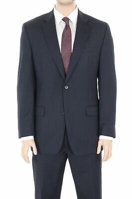 Mens 36R Michael Kors Regular Fit Navy Blue Pinstriped Two Button Wool Suit
