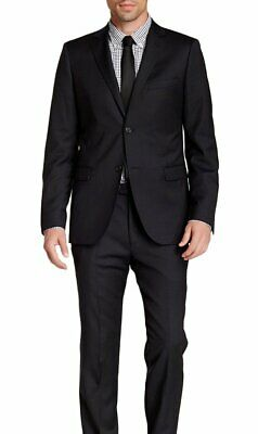 Mens 42L Zanetti Slim Fit Navy Blue Pinstriped Two Button Wool Suit