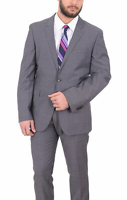 Mens 44R Hugo Boss Inwood/winfield1 Slim Fit Gray Textured Two Button Wool Suit