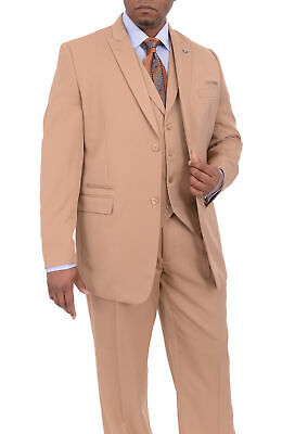 Mens 42L Stacy Adams Classic Fit Solid Tan Two Button Three Piece Suit With P...