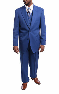 Mens 46R Apollo King Solid Indigo Blue Three Piece Wool Suit With Peak Lapel