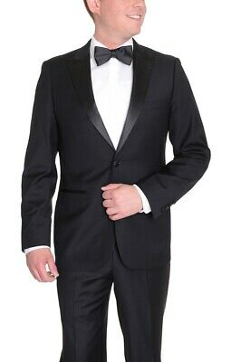 Mens 44S Modern Fit Solid Black One Button Tuxedo Suit With Peak Lapels
