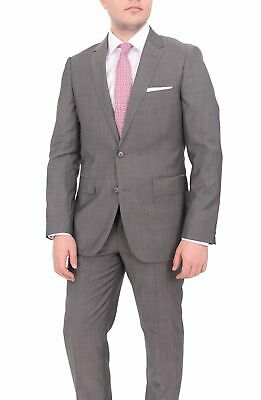 Mens 44R Mens Extra Slim Fit Gray Textured Two Button Wool Suit
