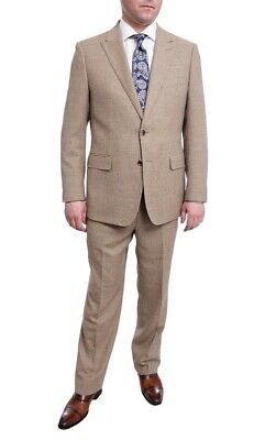Mens 42R Steven Land Mens Classic Fit Olive Green Taupe Weave Wool Suit Peak ...