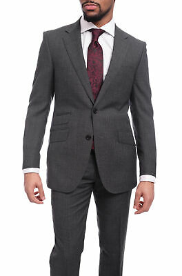 Mens 44R Napoli Slim Fit Gray Textured Two Button Half Canvassed Wool Suit Sl...