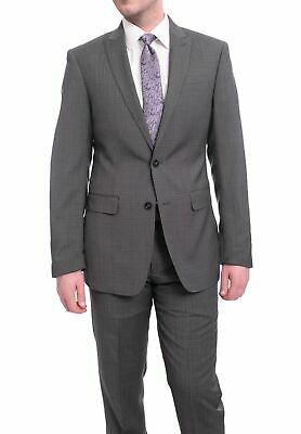 Mens 42R Calvin Klein Extreme Slim Fit Gray Check Two Button Wool Suit With P...
