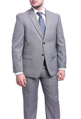 Mens 38S Tommy Hilfiger Regular Fit Gray Stepweave Two Button Wool Blend Suit