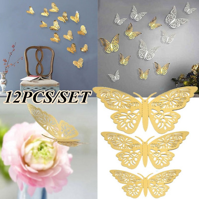 12Pcs 3D Butterfly Wall Stickers Hollow Paper DIY Decals Room Art Decorations