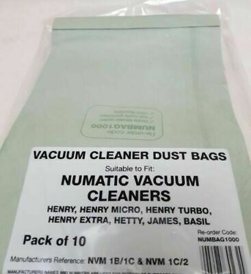 Numatic Henry NVM1B/1C & NVM 1C/2 Double Layered Vacuum Dust Bags (Pack of 10)