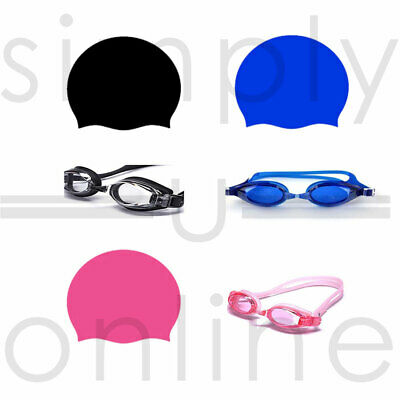 Childrens Kids Swimming Cap Swim Waterproof Hat & Adjustable Sports Goggles