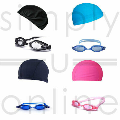 Childrens Kids Easy Fit Swimming Hat Cap & Adjustable Sports Goggles