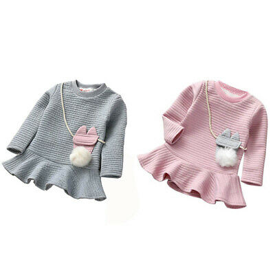 Toddler Kids Baby Girls Warm Long Sleeve Party Skirt Tutu Dress Clothes 1-6Y