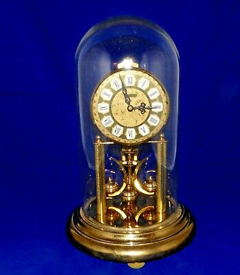Haller Anniversary Clock Germany Glass Dome 400 day vintage