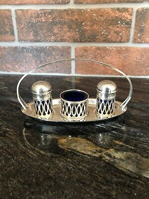 Vintage English Silver plated cruet Set Salt Pepper Mustard.