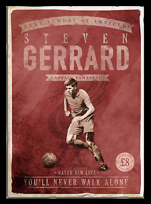 Steven Gerrard Retro Glossy Art Print 8x10 Inches Liverpool Football