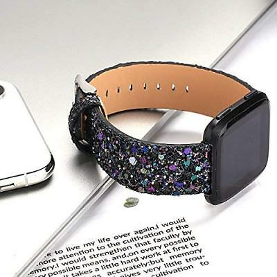 For Fitbit Versa / 2 Band Women Glitter Replacement Bracelet Leather Wrist Strap