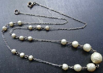 vintage art deco textured cream faux pearl glass bead silver tone chain necklace
