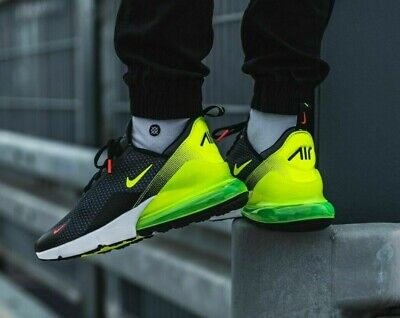 NIKE AIR MAX 270 Mens Trainers Black Fluorescent Volt Green