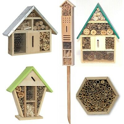 Insect Wooden Hotel Nest Home Bee Keeping Bug Ladybird Garden Pollination Box