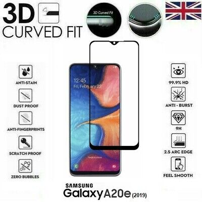 For Samsung Galaxy A20e (2019) 3D Tempered Glass LCD Screen Protector Black