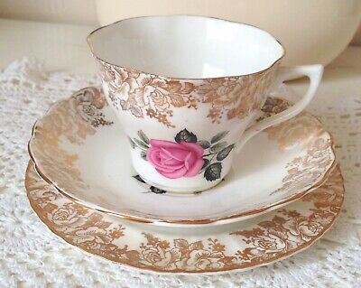 Vintage Fine Bone China Trio Tea Cup Saucer Plate Pink Rose Gold- RARE