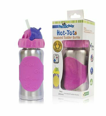 Hot-Tot Stainless Steel Insulated 9 oz Toddler Baby Eco Feeding Bottle Silver Pi