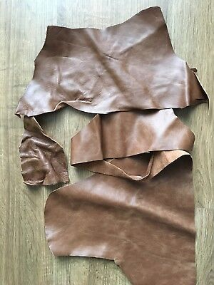 1kg Upholstery Quality Leather Off-Cuts/Remnants (TAN/BROWN) Arts & Crafts