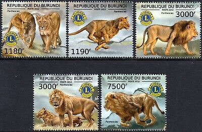 LIONS Club International (Panthera Leo) Wild Animal Stamp Set (2012 Burundi)