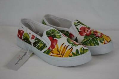 Girls Tennis Shoes Size 3 Floral Flats Casual Sneakers Slip On Canvas Loafers
