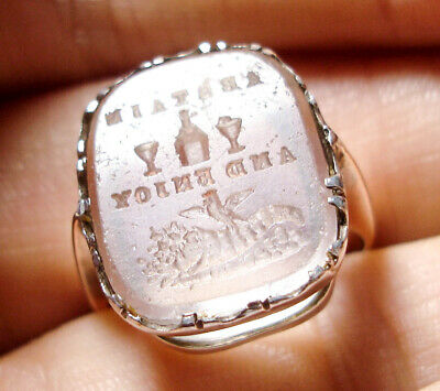 Beautiful Antique Edwardian 9Ct Gold & Silver Seal Ring