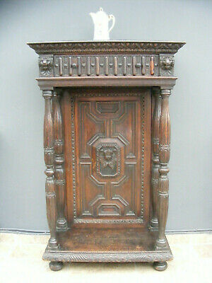 Antique Victorian gothic style carved oak hall stand / cabinet