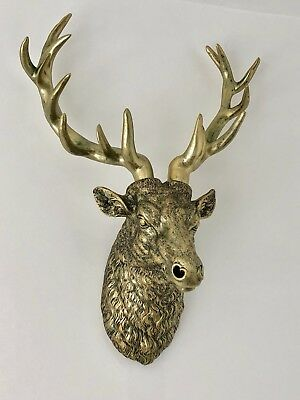 Stunning Large Antiqued Gold Stag Head - Wall Mounted Hanging Statue Ornament