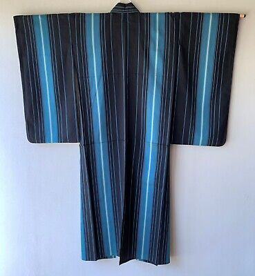 Vintage Japanese Kimono Omeshi for summer silk stripe black blue white