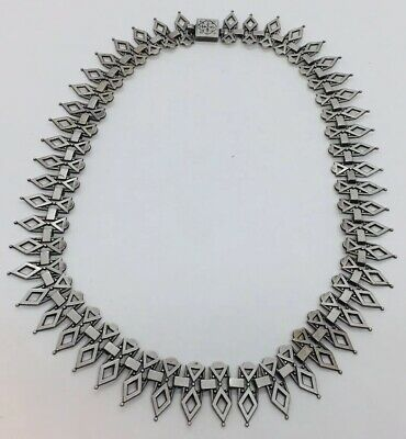 Antique Victorian Sterling Silver Unusual Ornate Gothic Link Chain Necklace