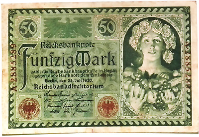 1920 Germany Weimar Republic 50 Mark Banknote