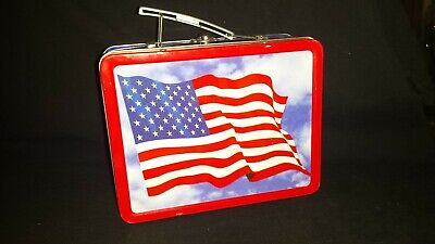 Vintage Usa Flag Stars And Stripes Red White & Blue Metal Lunch Post Betsy Ross