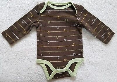 Boy's Long Sleeve One PcTop~ Size 0-3 Months ~Brown and Green Colors ~ Circo
