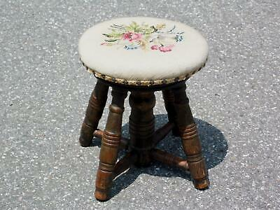 Antique Oak Round Footstool Milking Stool Floral Needlepoint Ottoman