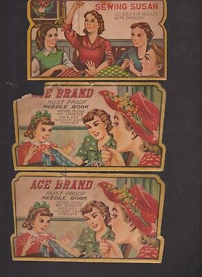 Sewing Susan Ace Brand Antique Nickel Plated Rust Proof Sewing Needle Books