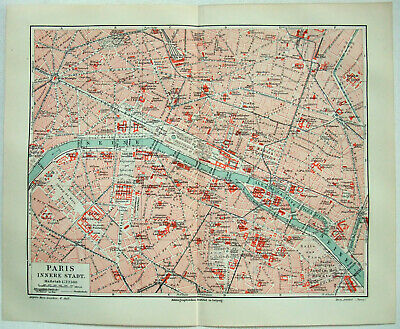 Paris, France - Original 1908 Inner City Map by Meyers. Antique
