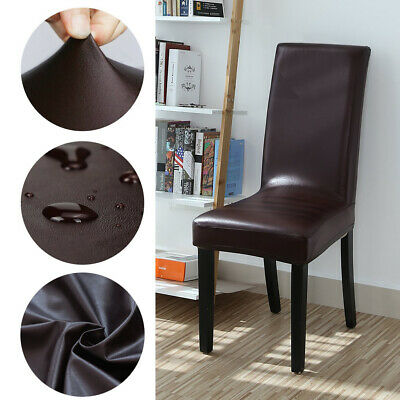 Dining Chair Covers PU Leather Slip Covers Wedding Banquet Home Decor Waterproof