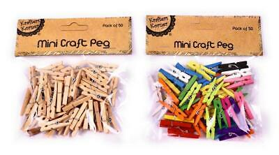 Mini Wooden Pegs Craft Clothespins Natural Wood Colorful Photo Clips 3cm 50pcs