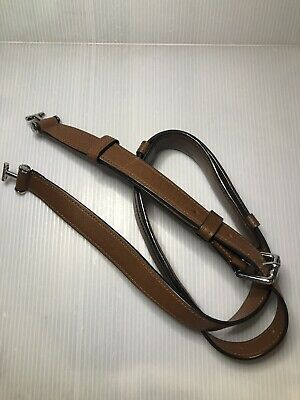 TUMI 'Astor 104D' Brown/Chrome Leather Adjustable Shoulder Strap