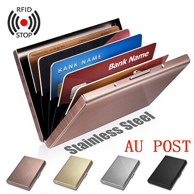 Anti-scan RFID Blocking Wallet ID Credit Card Stainless Steel Card Holder Case