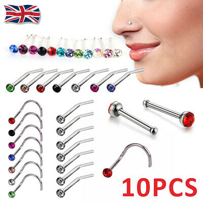 10Pcs Surgical Steel Small Gemstone Crystal Screw Perforation Nose Stud Ring
