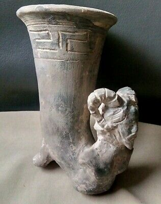 Beautiful Rare Ancient Greek Roman Terracotta Drinking Rhyton Divinity Unique