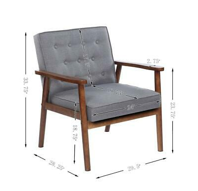 Mid Century Chair Retro Reversible Wood & Fabric Lounge Arm Recline Furniture US