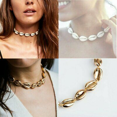 Cowrie Shell Choker Natural Shell Necklace Gold Adjustable Beach Jewelry Gift