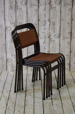 Set Of 4 Vintage Retro Mid Century Industrial Stacking Canvas Cafe Bar Chairs